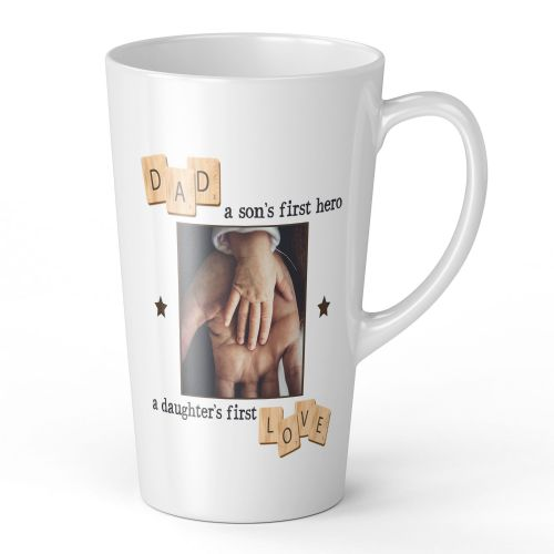 17oz Personalised Dad, A Son's First Hero, A Daughter's First Love Novelty Gift Latte Mug